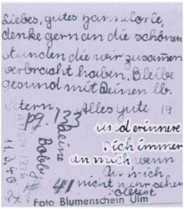 Rückseite eines Fotos, das Mina Hirsch ihrer in die USA ausgewanderten Schulfreundin Hannelore Baer schickte.