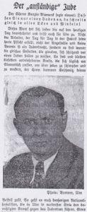 Schmähartikel gegen Otto Polatschek im Ulmer Tagblatt vom 19. August 1935 (Ausschnitt).